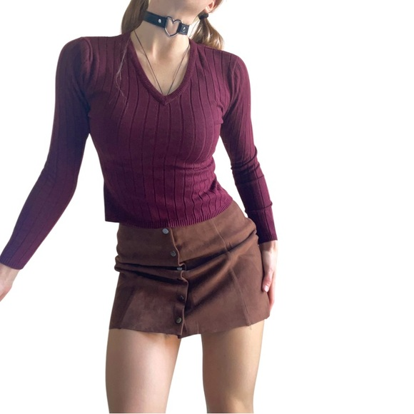 RAAM vintage 90s burgundy ribbed sweater, v neck, size M, fits like small